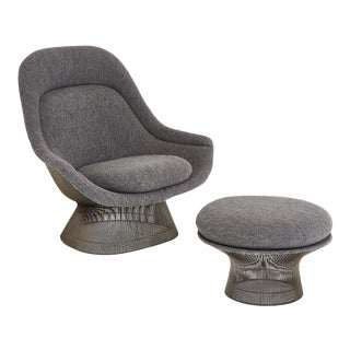 Warren Platner for Knoll Lounge Chair With Ottoman For Sale