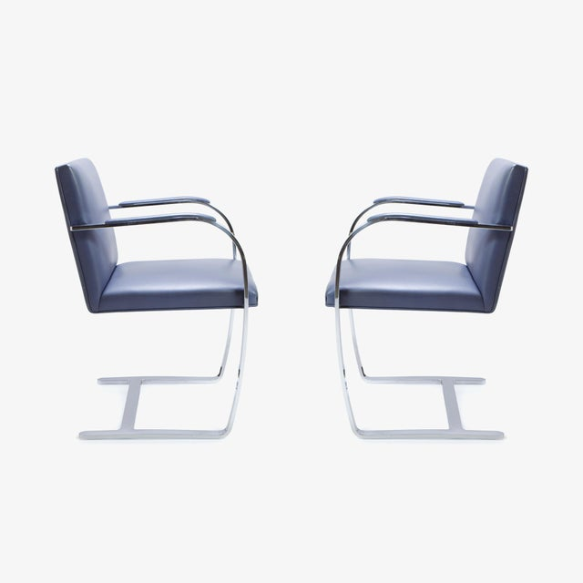 Mies Van Der Rohe for Knoll Brno Flat-Bar Chairs in Navy Leather, Pair - Image 3 of 11