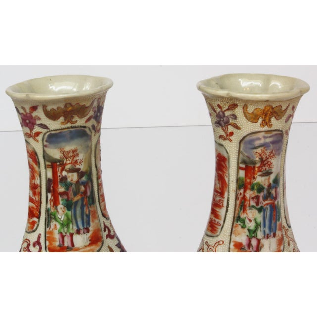 Blue Two Pairs, 18th Century Mandarin Pallet Chinese Export Vases For Sale - Image 8 of 10