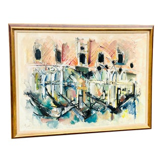 Large Scale Expressive Oil Painting of Venice by French Artist Roger Lersy For Sale