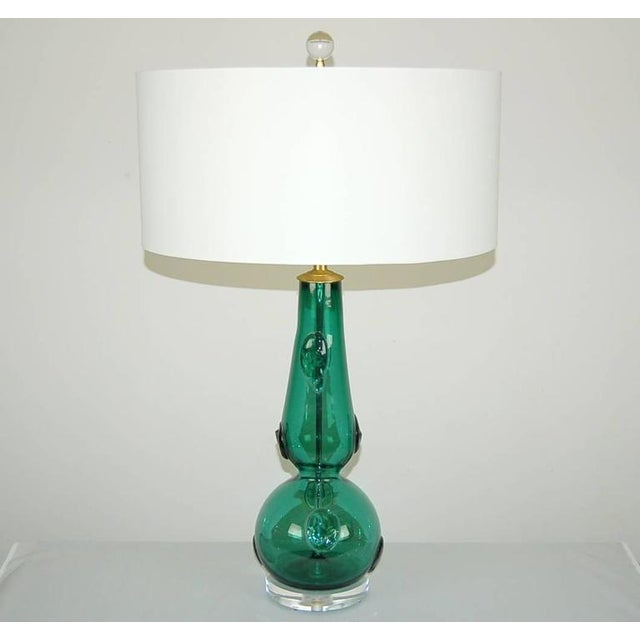 Italian Vintage Murano Glass Table Lamps Prunts Green For Sale - Image 3 of 10