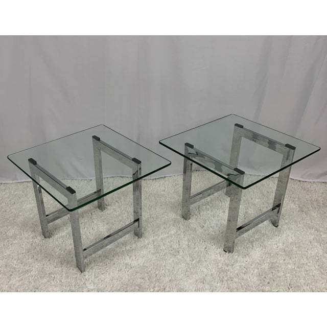 Milo Baughman Milo Baughman Style Mid-Century Chrome and Glass Side End Tables -- a Pair For Sale - Image 4 of 9