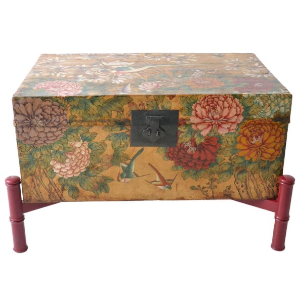 Leather Hand-Painted Chinese Trunk on Stand - Image 1 of 6
