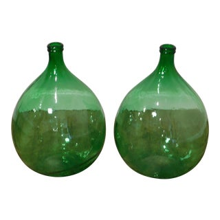 Vintage Green Hand Blown Demijohn Bottles - a Pair For Sale