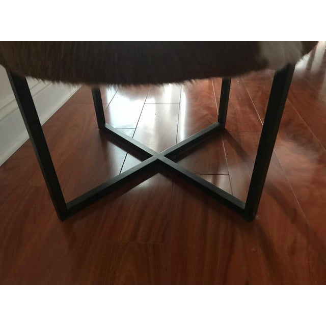 Circular Upholstered Cowhide Bench For Sale In New York - Image 6 of 7