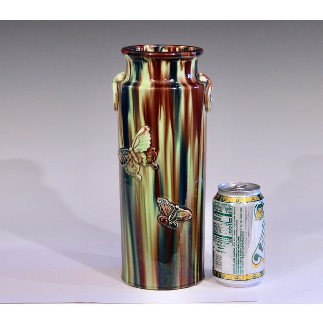 Early 20th Century Pottery Vase with Butterfly Motif and Drip Flambe Glaze For Sale - Image 12 of 13