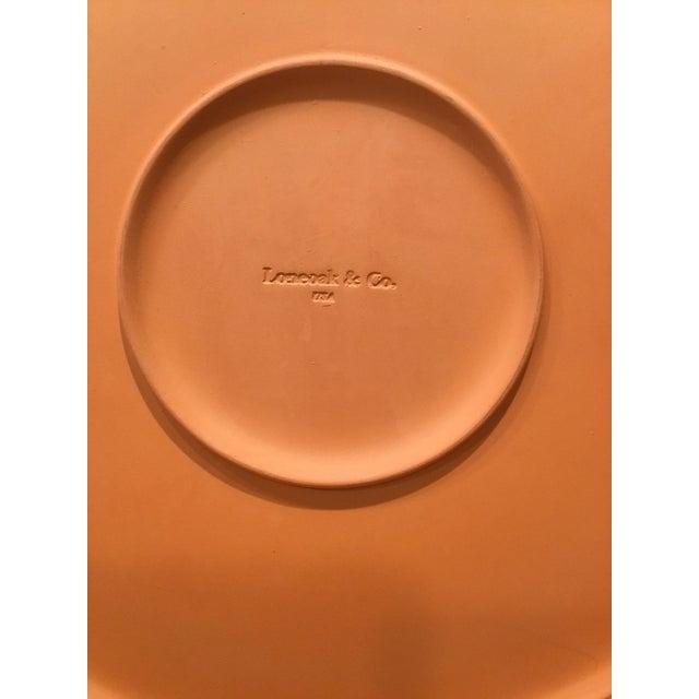"Loneoak & Co Oversized platter 20"" diameter Queen Anne pattern Glazed terra cotta Normandie Blue No chips, cracks or stains"