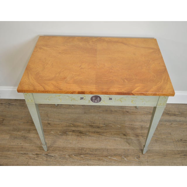 Wood Schmieg & Kotzian Adams Hand Painted One Drawer Side Table For Sale - Image 7 of 12