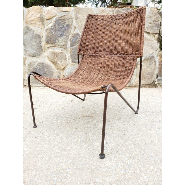 Mid-Century Modern Mid Century Frederic Weinberg Wrought Iron & Rattan Lounge Chair For Sale - Image 3 of 13