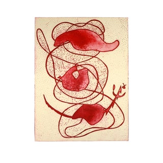Lilly Elroy, Red Abstract Aquatint For Sale