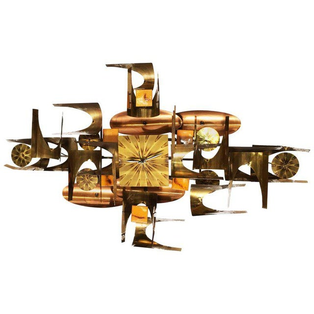 William Vose for Curtis Jere Brass and Copper Brutalist Wall Sculpture Clock For Sale - Image 10 of 10