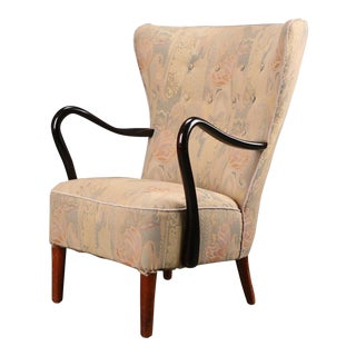 1940s Vintage Alfred Christensen for Slagelse Møbelfabrik Art Deco High back Lounge Armchair For Sale