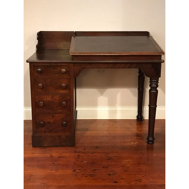 Victorian Burly Walnut Lift Top Desk, Side Drawers Turned Legs For Sale - Image 10 of 10