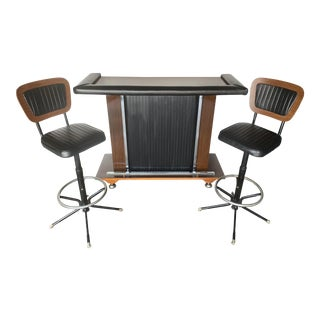 Mid Century Modern Bar & Pair of Matching Barstools - 3 Pieces For Sale