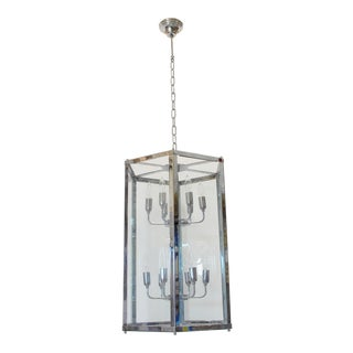 Esagono Lantern With Glass Panels and a Chrome Frame by Fabio Ltd For Sale