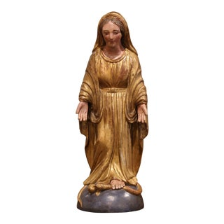 Mid-19th Century French Carved Giltwood and Polychromed Virgin Mary Statue For Sale