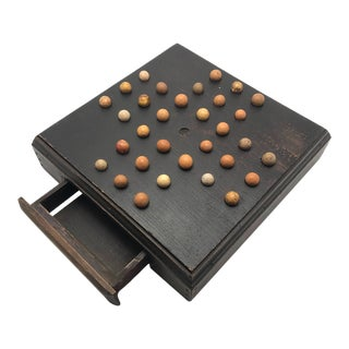 Handmade Stained Pine Wood Marble Solitaire Board With Clay Marbles For Sale