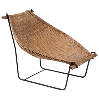 1950s Vintage John Risley Wicker and Iron Chaise For Sale