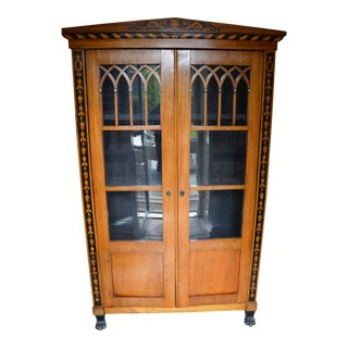 Antique Bierdermeier Maple Vitrine For Sale