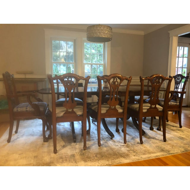 Blue Mahoghany Rectangular Dining Room Table and 8 Carved Chairs Set For Sale - Image 8 of 8