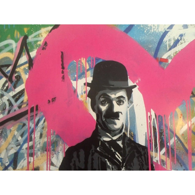"Yellow Mr. Brainwash Original Lithograph Print Poster ""Charlie Chaplin Madonna"" For Sale - Image 8 of 10"