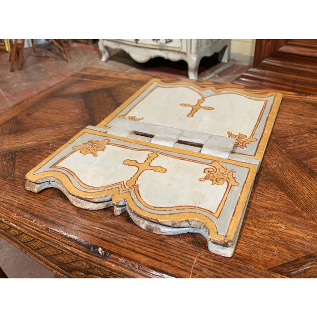 Wood 18th Century Italian Carved Giltwood and Painted Holy Bible Folding Book Stand For Sale - Image 7 of 10
