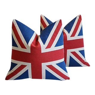 "Chic British Union Jack Flag Linen Feather/Down Pillows 17"" Square - Pair"