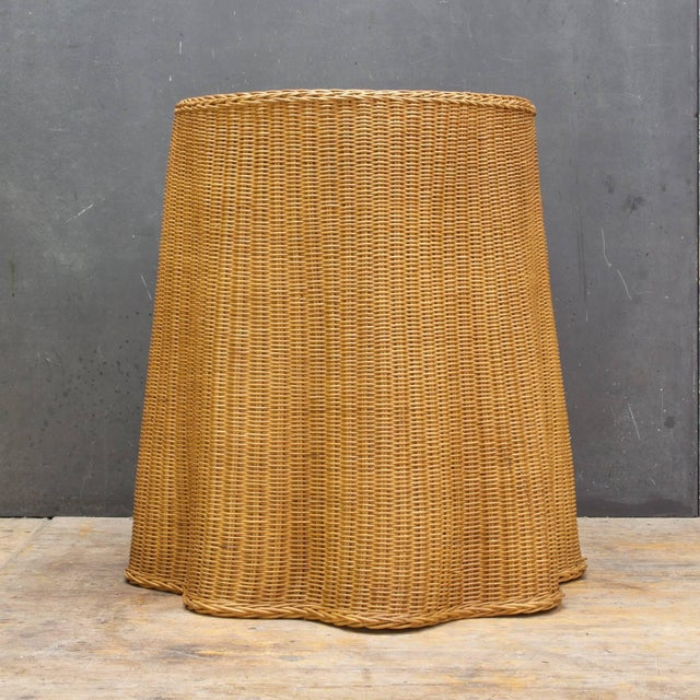 Trompe l'Oeil Rattan Draped Wicker Ghost Entryway Table Pedestal Mid-Century For Sale - Image 4 of 9