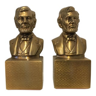 Vintage Brass Lincoln Bookends - A Pair