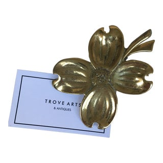 Vintage Brass Dogwood Clip For Sale