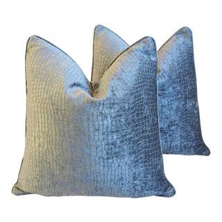 "Gray/Silver Crocodile Alligator Textured Feather/Down Velvet Pillows 23"" Square - Pair For Sale"