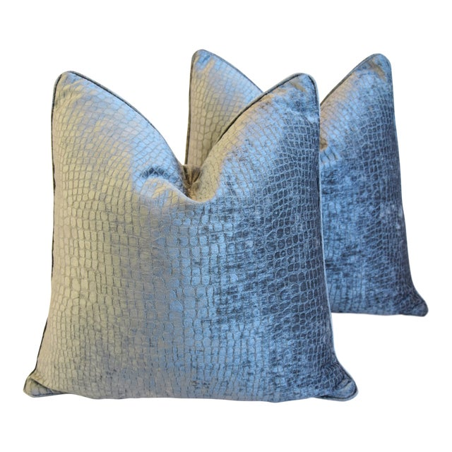 """Gray/Silver Crocodile Alligator Textured Feather/Down Velvet Pillows 23"""" Square - Pair For Sale"""