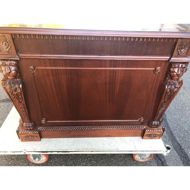Brown Mahogany Chippendale Style Double Pedestal Partners Desk For Sale - Image 8 of 12