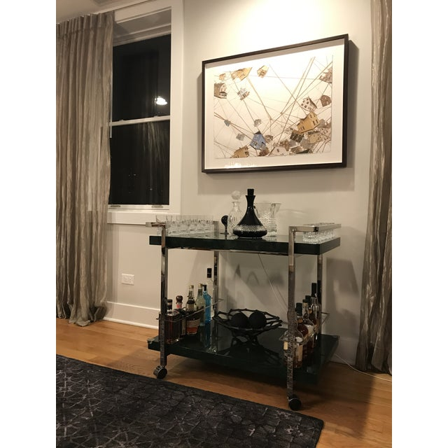"""Bar cart with nickel frame and malachite (green) tiers. Dimensions: 36.25""""W X 31.75""""H X 24""""D. Wine holder dimensions..."""