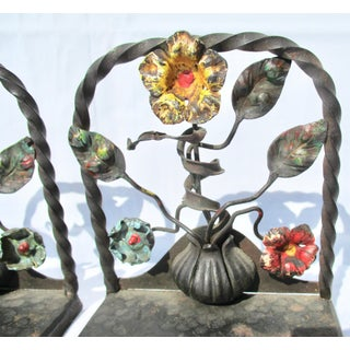 Arts and Crafts Wrought Iron and Polychrome Bookends - a Pair Preview