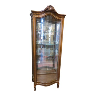 1940s Vintage French Inspired Curved Glass Front Fruitwood Curio/Display Cabinet