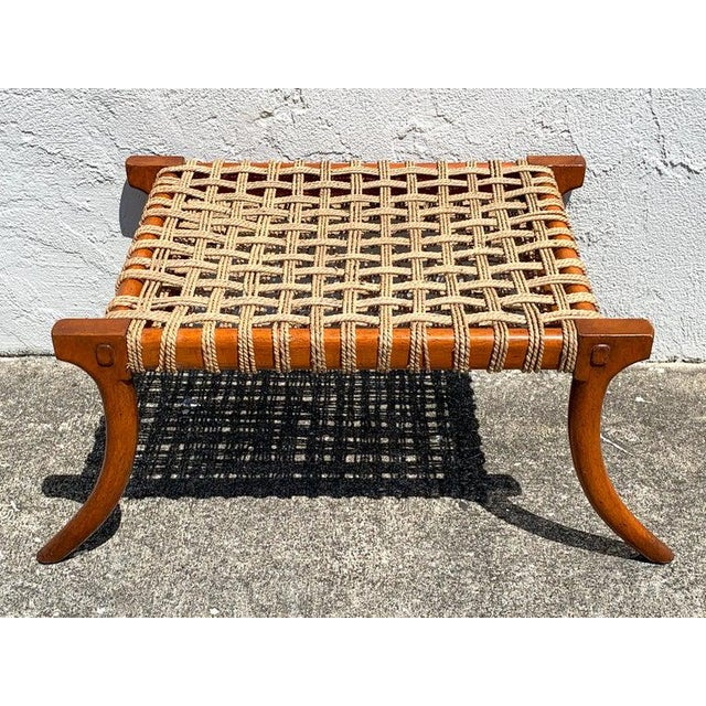 Mid 20th Century Vintage Klismos Mahogany and Woven Rope Bench, in the Manner of Robsjohn-Gibbons For Sale - Image 5 of 11
