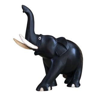 Vintage Hand Carved Ebony Wood Elephant Figurine For Sale
