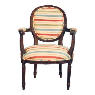 Upholstered Louis XVI Style Open Armchair For Sale