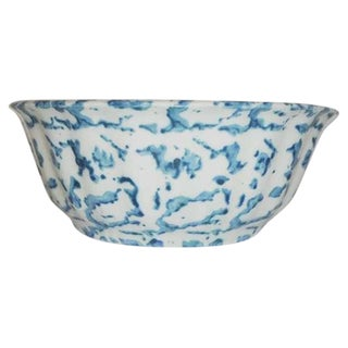 19th Century Spongeware Pottery Fluted Fruit Bowl For Sale