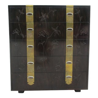 Henredon Brass and Floral Incised Tall Dresser For Sale