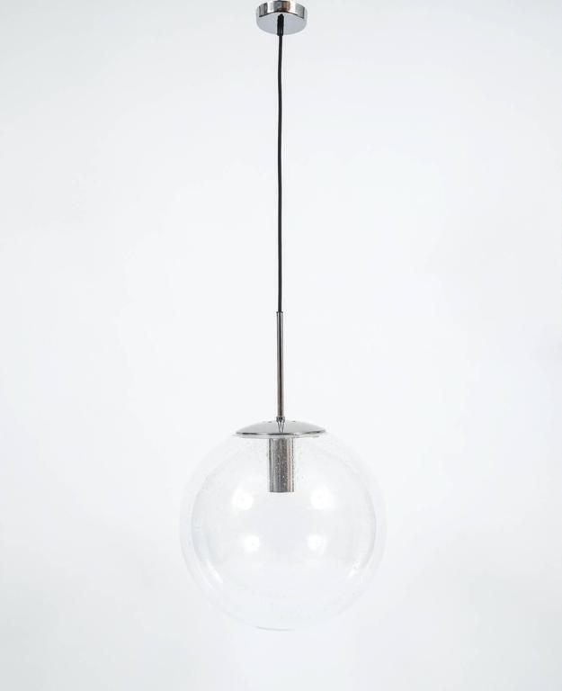 Exceptional Glashutte Limburg Large Clear Glass Ball Pendant Light
