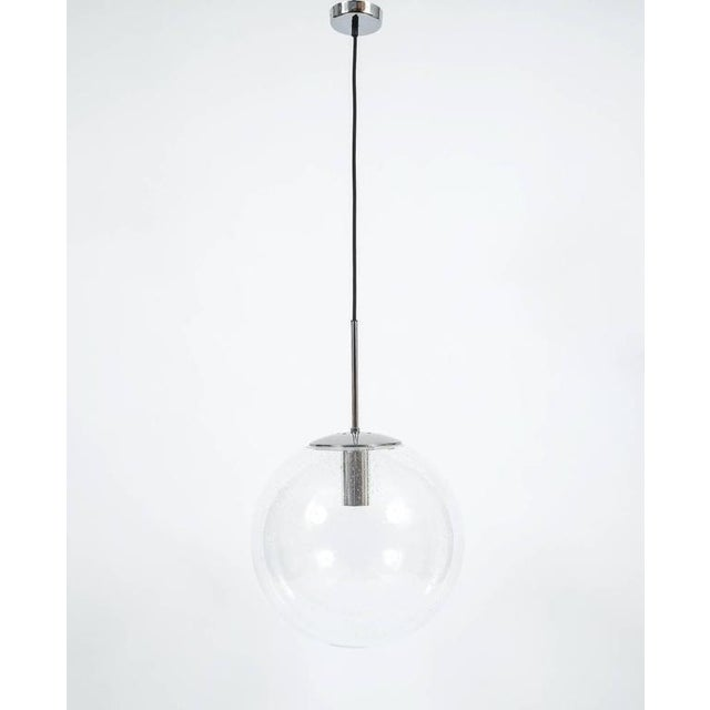Glashütte Limburg Glashütte Limburg Large Clear Glass Ball Pendant Light Lamps, circa 1960 For Sale - Image 4 of 4