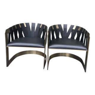 Pair of Baker Furniture Leather and Bronze Sling Chairs by Kara Mann For Sale