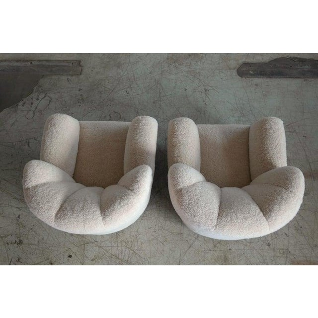 White Pair of Danish Fritz Hansen Model 1518 Large Size Club Chair in Lambswool, 1940s For Sale - Image 8 of 10
