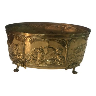Neoclassical Brass and Zinc Oval Garden Planter For Sale