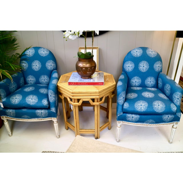 Fabric Pair of Blue French Chairs For Sale - Image 7 of 8