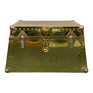 1960s Hollywood Regency Gold Trapazoid Trunk Coffee Table For Sale