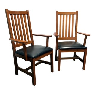 Mission Arts & Crafts Craftsman Cherry Arm Chairs with Leather Seats - Set of 2