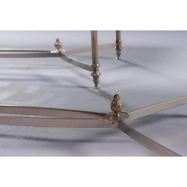 Silver Pair French Black Glass Cocktail Tables For Sale - Image 8 of 11